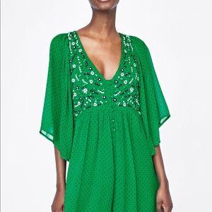 1140036c8e8 Zara Dresses - ZARA Green Embroidered Playsuit Polka Dot Dress